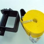 Banda de tension 4'': Este producto se emplea principalmente para sujetar la carga. Es fabricada con Fibra Poliéster con gancho plano de metal para ayudar a su sujeción en la base de la plataforma.